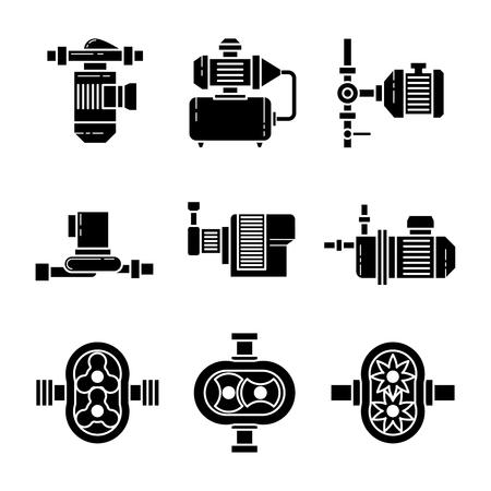 bomba de agua: la bomba de agua iconos negros conjuntos. Equipo para la plomería, tubería y la presión, ilustración vectorial