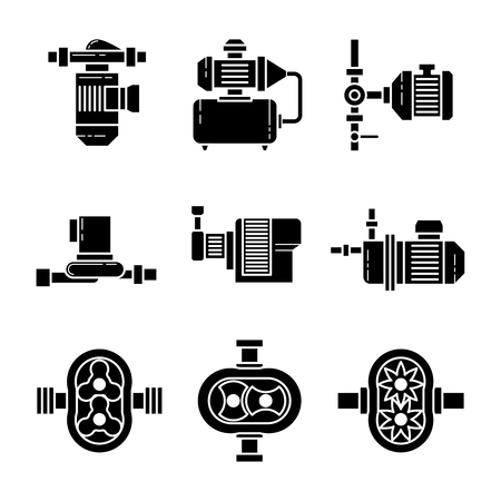Water pump black icons sets. Equipment for plumbing, pipe and pressure, vector illustration Illustration
