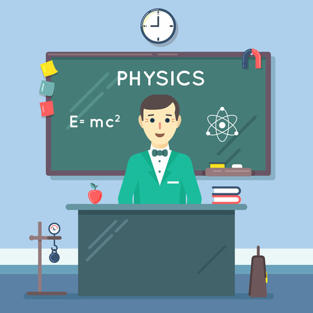 blackboard cartoon: School physics teacher in audience. Class lesson, blackboard and college, knowledge learning in classroom. Vector illustration flat education concept