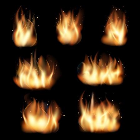 burn: Fire flames set on black background. Burn heat, flame and wildfire, energy vector illustration Illustration