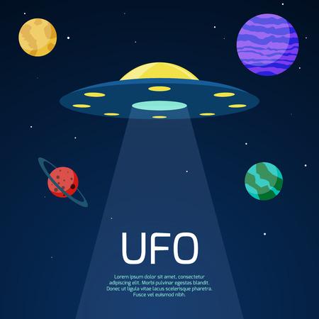 astronomie: Abstrakten Raum Hintergrund mit ufo Raumschiff. Astronomie mit futuristischen Technologie-Design, Vektor-Illustration Illustration