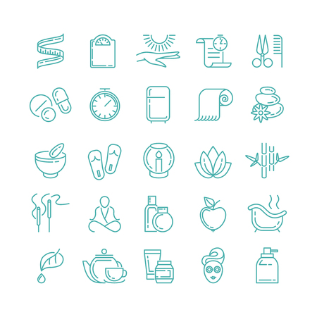 beauty icon: Spa Beauty line icons set. Health care, cream mask, therapy vector illustration