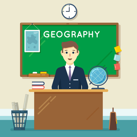 School teacher in classroom. Geography lesson. Education and learning, knowledge study. Vector illustration in flat style