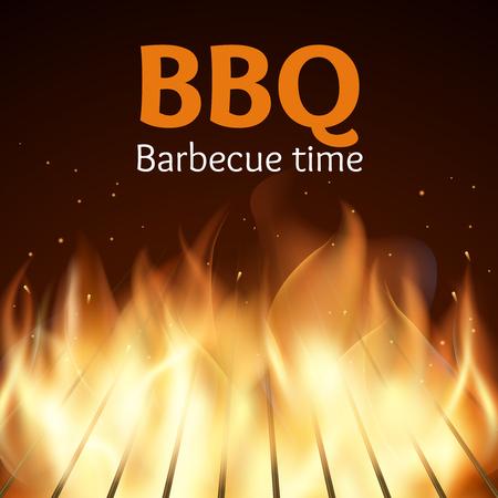 llamas de fuego: Grille con fuego. cartel de barbacoa. Llama para la barbacoa, cocinar a la parrilla, ilustración vectorial
