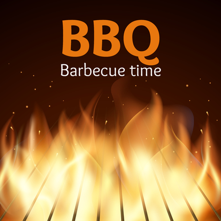 bbq picnic: Grille with fire. BBQ poster. Flame for barbecue, cooking grilled, vector illustration
