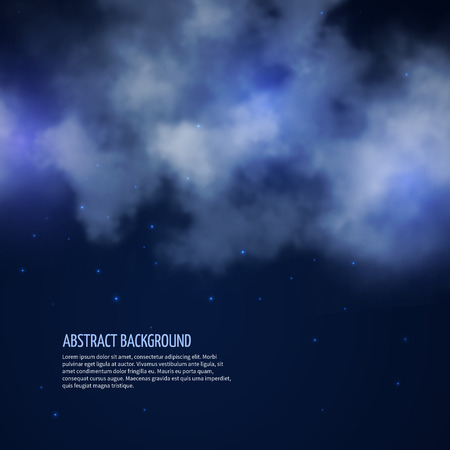 infinitely: Night sky with stars and clouds abstract background. Moonless space, vector illustration