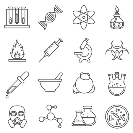 toxic product: Scientific experiments, chemistry and bio technology line icons. Biology molecular, structure molecule, vector illustration