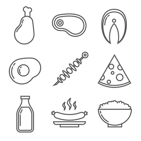 proteins: Dairy and meat products with animal protein. Line vector icons set