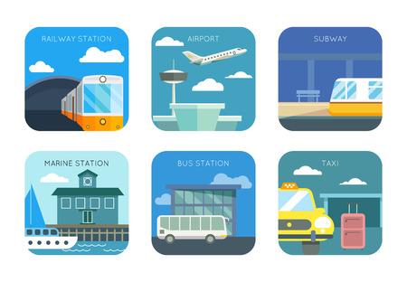 estacion de tren: Aeropuerto, estación de tren y marinos, parada de autobús y taxi, iconos planos de metro ajustado. Tráfico transporte público, ilustración vectorial