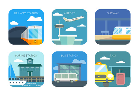 train station: Airport, railway and marine station, bus and taxi stop, subway flat icons set. Transportation public traffic, vector illustration
