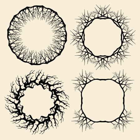plant tree: Wood tree branches and wreaths set. Nature frame plant, botanical decor illustration