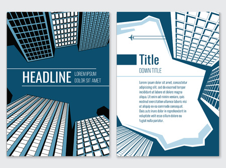 business district: Architecture design concept. Business brochure template.  Card with headline title and skyscraper, downtown tower, vector illustration
