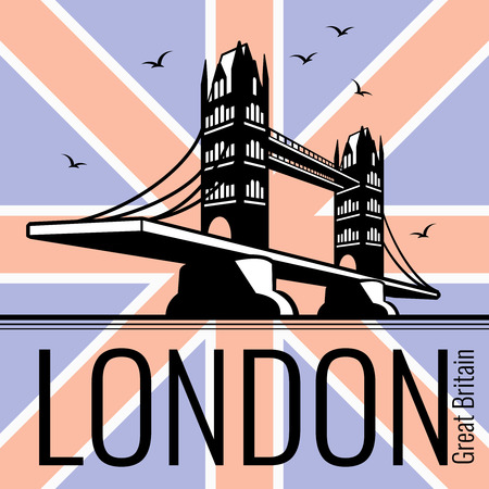 london tower bridge: London tower bridge vector poster. England tourism, britain kingdom, famous architecture illustration