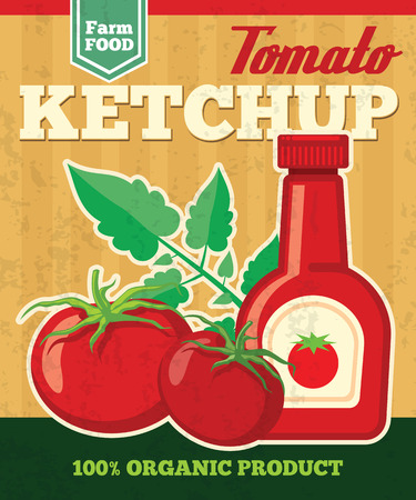 fresh vegetable: Tomato vector poster in vintage style. Vegetable fresh, ketchup natural sauce illustration Illustration
