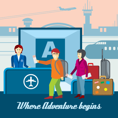 aerodrome: Airport background in flat style. Boarding and passport control, ticket and tourism llustration. Travel vector concept Illustration