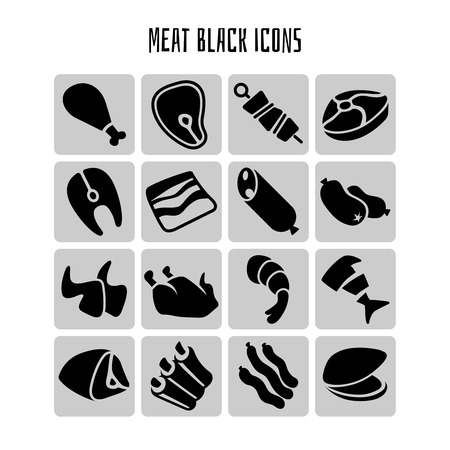 eating lunch: Meat black icons set. Food dinner, chicken lunch, fish eating, grill barbecue, vector illustration