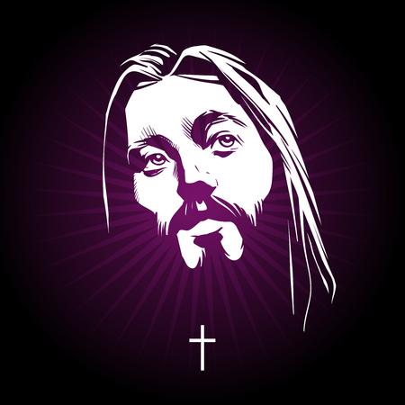 Jesus face. Religion catholic, cross sign, holy christian illustration. Vector portrait