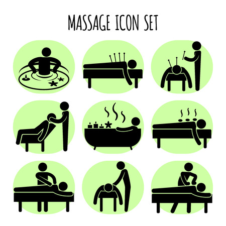 masseur: Massage vector black icons set. Spa relaxation health, medical therapy in bath herbal illustration Illustration
