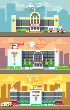 car care center: Medical center and hospital building banners set. Health care concept. Building clinic, healthcare medicine quality, vector illustration Illustration