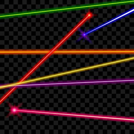 láser vectorial vigas en el fondo a cuadros transparente. energía del rayo, línea brillante, brillante color ilustración