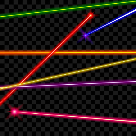 Vector laser beams on transparent plaid background. Ray energy, shiny line, bright color illustration Vectores