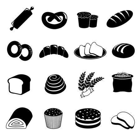 wheat toast: Bakery and bread icons set. Food and pastry, cake and wheat, toast breakfast, vector illustration