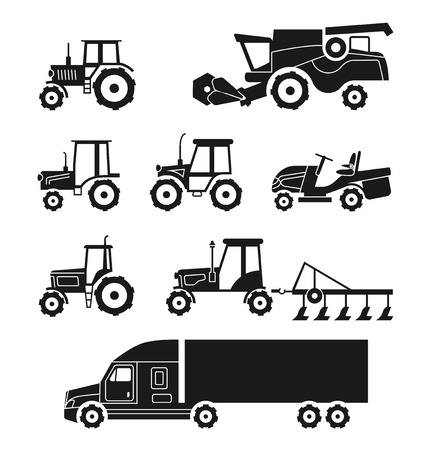 harvesters: Tractors and combine harvesters icons set. Agricultural transport collection. Transportation machine lorry, cargo equipment. Vector illustration