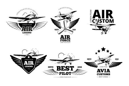 航空ショー: 飛行機のエンブレムはベクトル ラベルです。航空、飛行、最高のパイロットのイラスト