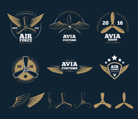 aeronautic: Aircraft design elements. Airplane propeller, emblem or insignia, stamp flight, vector illustration