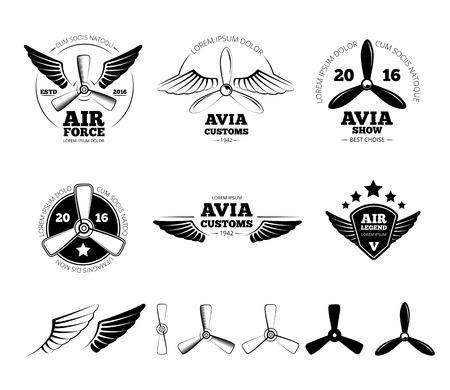 빈티지 비행기 라벨, 엠 블 럼 및 기호를 설정합니다. 항공 우표, 날개 비행, 프로펠러 벡터 일러스트 레이 션