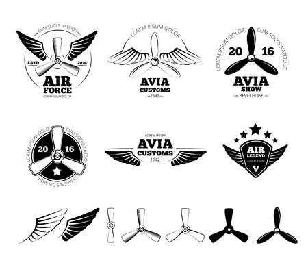 Vintage airplane labels, emblems and symbols set. Aviation stamp, wing flight, propeller vector illustration