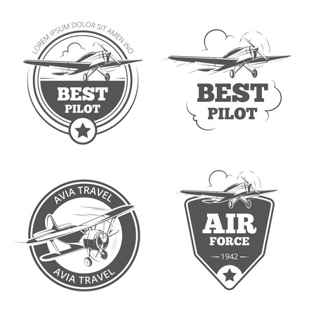 Vintage biplane and monoplane emblems set. Airplane and aircraft. Aviation, flight travel, vector illustration