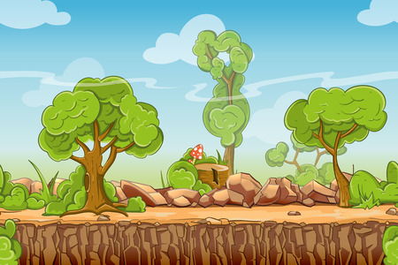 grass: Country seamless landscape in cartoon style. Nature panorama, green tree outdoor, vector illustration Illustration