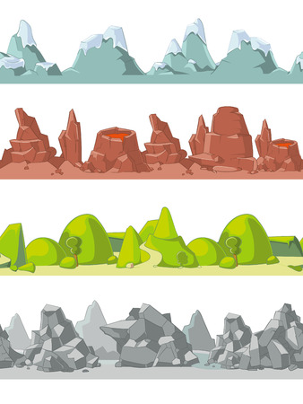 unending: Seamless mountains set in cartoon style for game, ground and rock, vector illustration Illustration