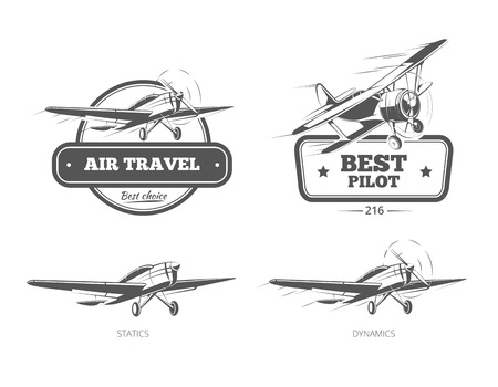 Aviation badges and emblems labels. Aircraft and plane, pilot and travel, vector illustration
