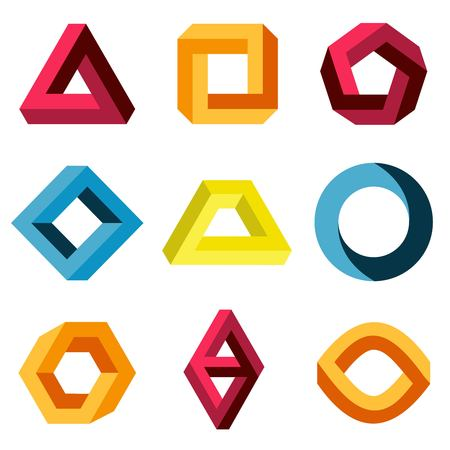 bucle: El conjunto de colores y formas imposibles. compañía cifra de negocios creativa. ilustración vectorial