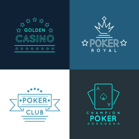 gambling game: Casino and poker club labels and emblems, set in linear outline style. Gambling play design, royal gamble banner, vector illustration Illustration