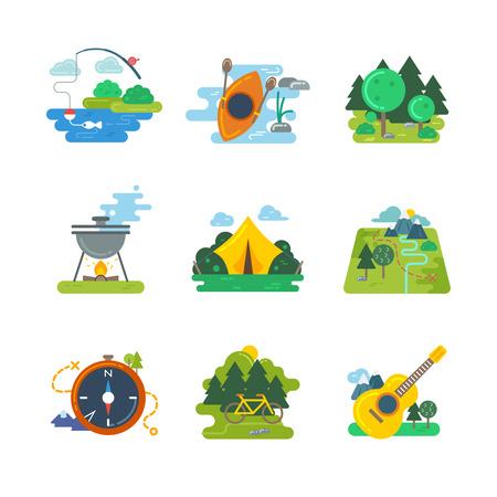 ricreazione: Natura, esterno e forestali attività. avventura all'aria aperta, trekking e orienteering, viaggi in bicicletta, illustrazione vettoriale Vettoriali