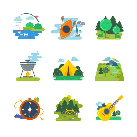 recreation: Nature, outdoor and forest activites. Outdoor adventure, hiking and orienteering, biking travel, vector illustration