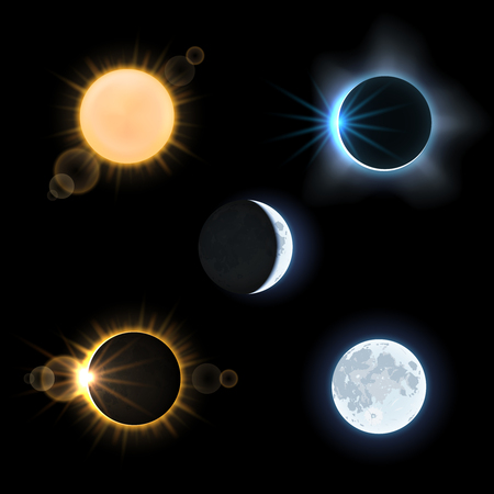 Sun and moon and suns and moons eclipse. Astronomy sky, vector illustration set Illustration