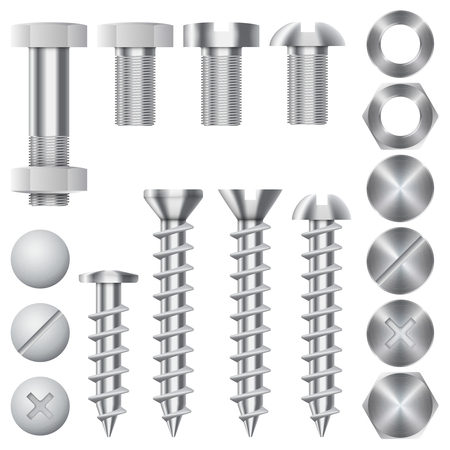 clincher: Construction hardware icons. Screws, bolts, nuts and rivets. Equipment stainless, metalli fix gear, vector illustration