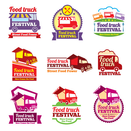 eating fast food: Street food festival color labels set. Cafe urban, mobile market, event and transport, vector illustration