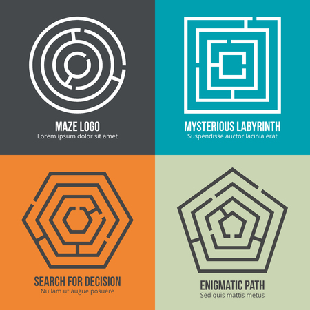 logic: Labyrinth, maze shape logo design set. Rebus logic, game search mystery. Vector illustration