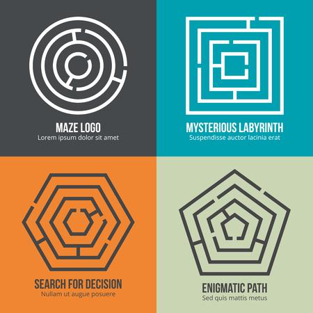 Labyrinth, maze shape logo design set. Rebus logic, game search mystery. Vector illustration