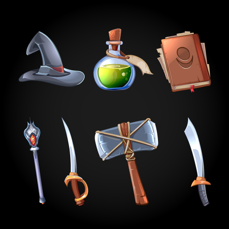 weapons: Cartoon fantasy magic and weapons icons set for computer game. Sword and staff, witchcraft and bottle poison, hat and hammer, gaming object for app. Vector illustration Illustration