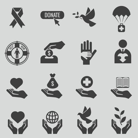 assistance: Charity and donation black icons set. Care and heart, love and donate hand, humanitarian support, vector illustration Illustration