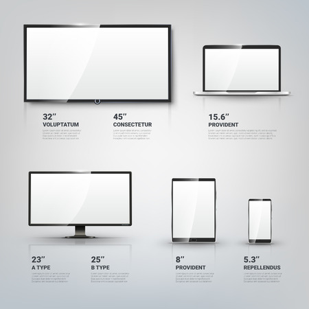 computer devices: TV screen, Lcd monitor and notebook, tablet computer, mobile phone templates. Electronic devices infographic. Technology digital device, size diagonal display. Vector illustration