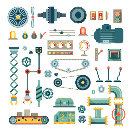 machinery: Parts of machinery and robot flat icons set.  Mechanical equipment for industry, technical engine mechanic, pipe and valve, absorber and  button, vector illustration