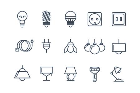 icônes de la lampe et la ligne de bulbes fixés. Symboles électriques, l'énergie électrique, ampoule fluorescente illustration ou vecteur halogène Vecteurs