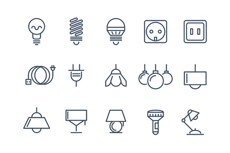 halogen: Lamp and bulbs line icons set. Electrical symbols, energy electric lightbulb, fluorescent or halogen vector illustration